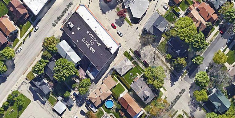 Het dak van Gubin vanuit de lucht gezien.