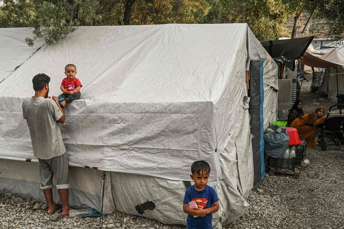 Camp de réfugiés Moria sur l'île de Lesbos
