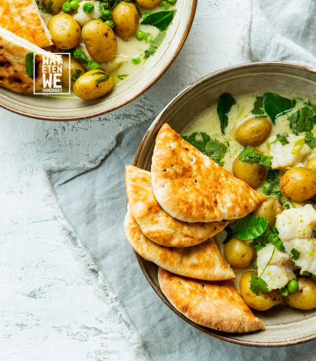 Wat Eten We Vandaag: Curry met zeewolf, krieltjes en doperwten