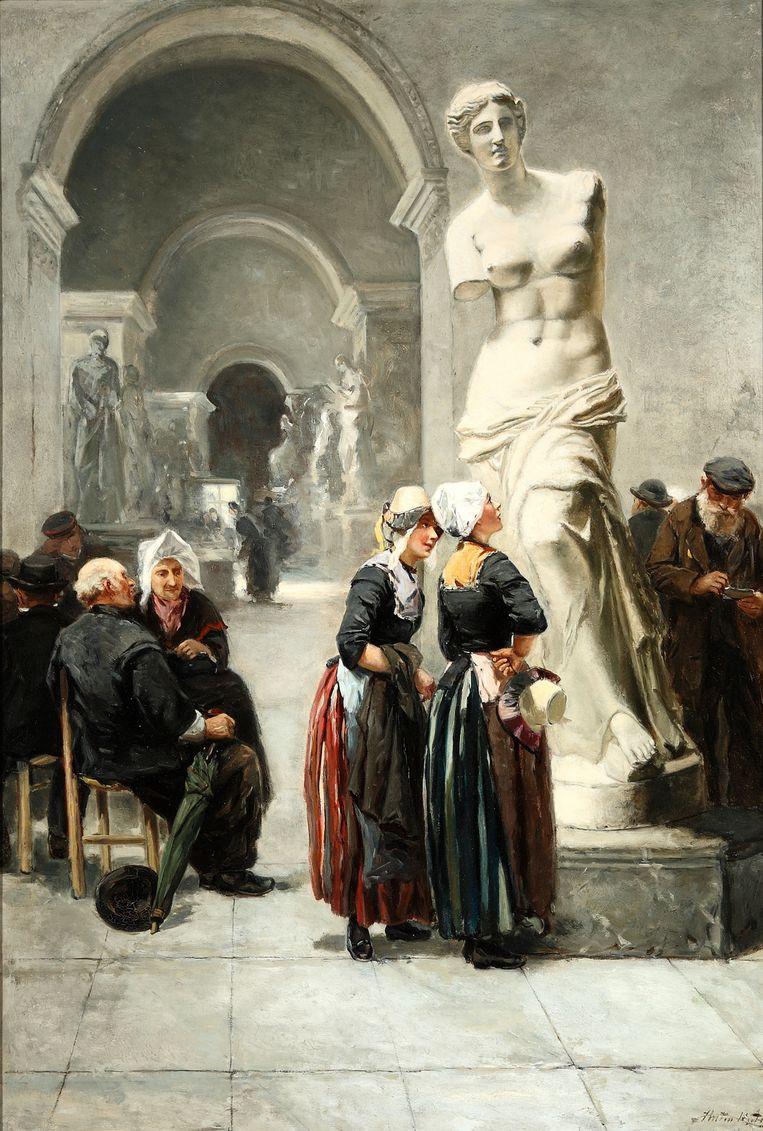 'Een bezoek aan het Louvre', Parijs, olieverf op paneel, (1881). Beeld Zuiderzeemuseum