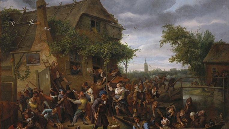 Vechtende boeren bij een herberg (1673) van Jan Steen. Beeld Royal Collection Trust