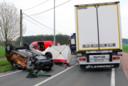 De 67-jarige man kwam op de Poederleeseweg om het leven na een aanrijding met een vrachtwagen.