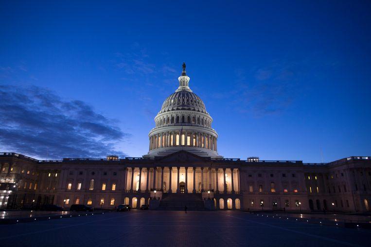 Het Capitool in de Amerikaanse hoofdstad Washington D.C., waar het Congres zetelt. Beeld EPA