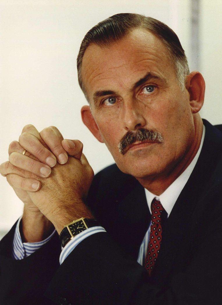 Henk Wolleswinkel in 1992, tijdens een persconferentie over het onderzoek naar de Bijlmerramp Beeld anp