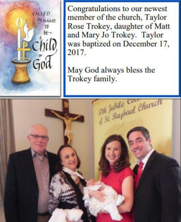 Afgelopen december werd 'nieuwste kerklid' Taylor Trokey nog in het zonnetje gezet door het kerkblad.