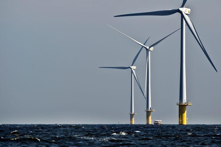 Windmolenpark voor de kust van IJmuiden. Beeld ANP