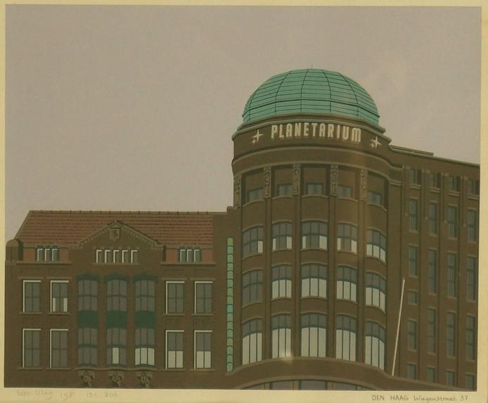 Den Haag Planetarium (door brand verwoest) in gebouw Haagsche Courant (Sijthoff Pers)