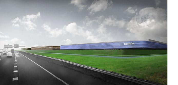 Een artist's impression van het nog te bouwen Logistiek Park Moerdijk vanaf de A16.