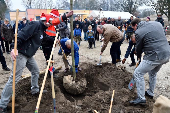 Wethouders Kees Kranen en Menno Tiggelaar planten de eerste boom.