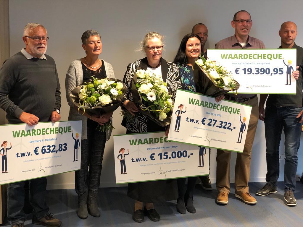 Delegaties uit Sint Philipsland, Nieuwe Tonge en Bruinisse krijgen geld van Windpark Krammer