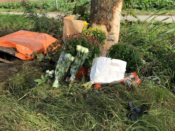 De bloemen liggen tegen de boom, vrienden en familie zijn kapot na het ongeluk in Finsterwolde.