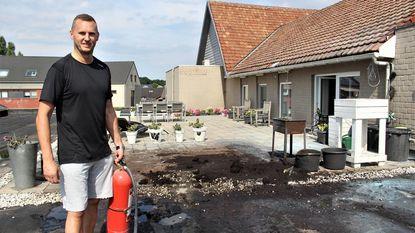 Slager blust dak van buurman