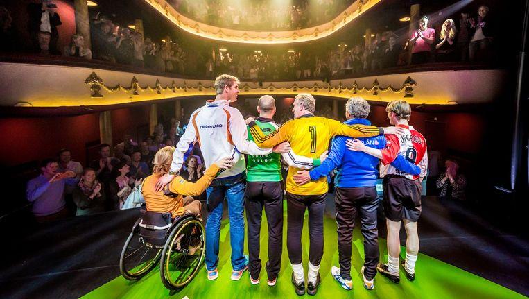 Esther Vergeer, Maarten van der Weijden, Erben Wennemars, Hans van Breukelen, Jan Ykema en Rory de Groot. Beeld Jorrit Lousberg