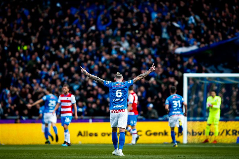 Genk's Sebastien Dewaest celebrates during a soccer match between RC Genk and Club Brugge, Sunday 14 April 2019 in Genk, on day 4 (out of 10) of the Play-off 1 of the 'Jupiler Pro League' Belgian soccer championship. BELGA PHOTO BRUNO FAHY