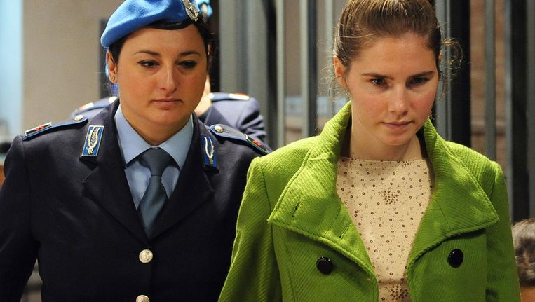 Amanda Knox in 2009 in de rechtszaal in Perugia. Beeld afp