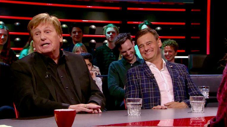 Tv-coryfee Henny Huisman en Veronica Inside-presentator Wilfred Genee. Beeld BNNVara