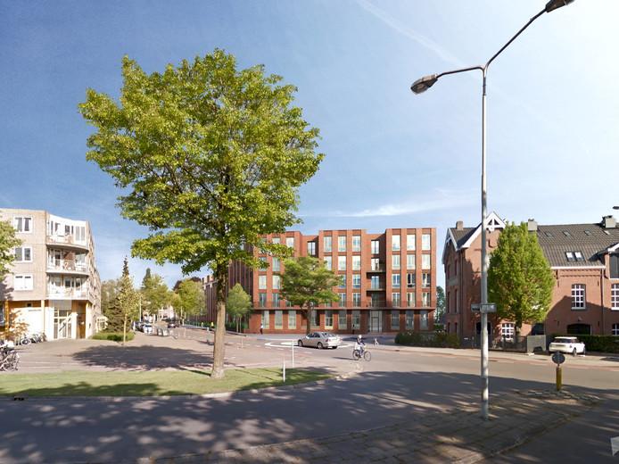 Een impressie van de bouwplannen van Burgland Real Estate op het terrein Van de Ven & Co in Eindhoven op de hoek Willemstraat-Gagelstraat.