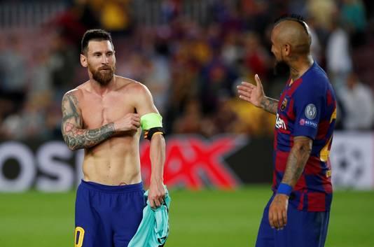 Lionel Messi en Arturo Vidal.
