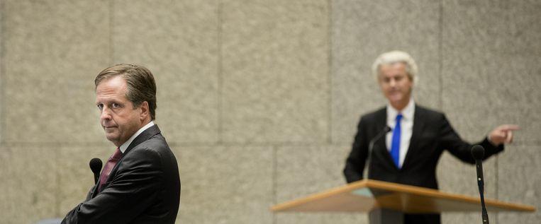 Pechtold versus Wilders in de Tweede Kamer. Beeld ANP
