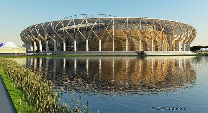 Het ontwerp van het nieuwe stadion van Club Brugge, A&E Architecten.