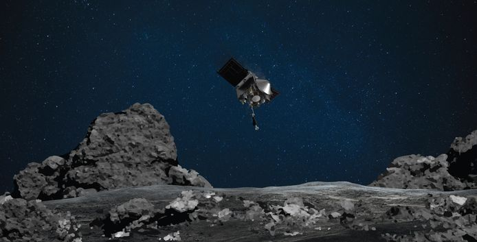 Een afbeelding die is gedeeld door NASA illustreert de afdaling van OSIRIS-REx op asteroïde Bennu.