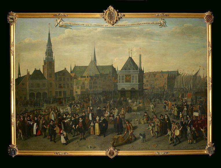 Drukte, ook toen (1633), op de Dam, door Adriaen van Nieulandt Beeld Collectie Am