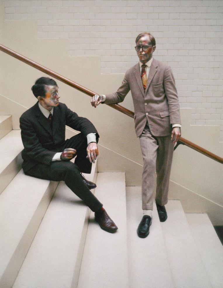 Op de trappen van het Stedelijk Museum in 1969. 'Daar werd onze kunst geboren' Beeld Ad Petersen/Collectie Huis Marseille