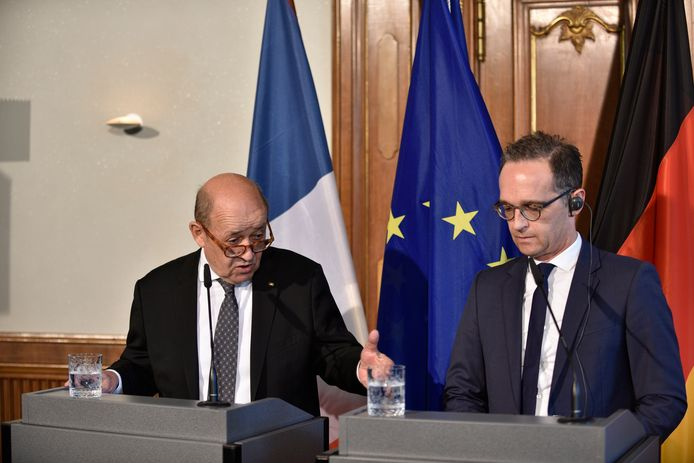 De Duitse minister van Buitenlandse Zaken Heiko Maas (R) en zijn Franse ambtgenoot Jean-Yves Le Drian (L) in Berlijn.
