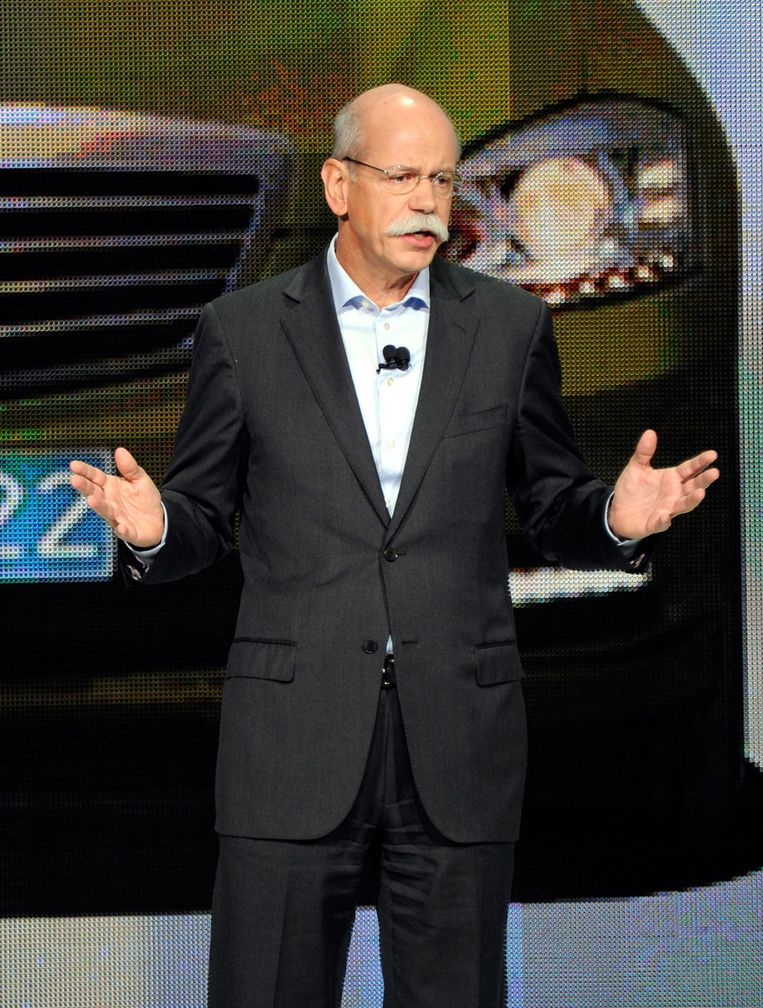 Directeur Dieter Zetsche tijdens de presentatie in Las Vegas. Beeld afp