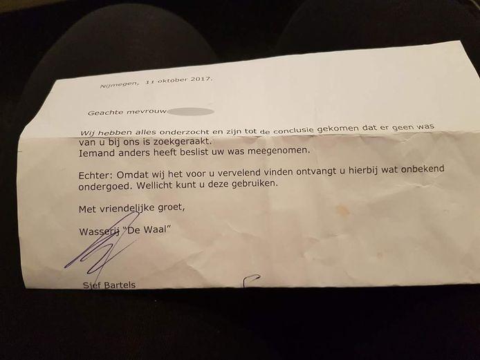 De brief die de Nijmeegse wasserij stuurde.