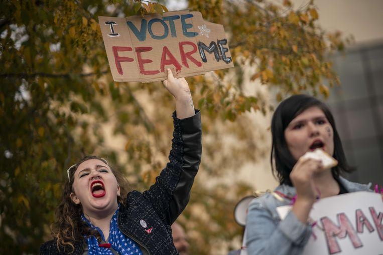 In de stad Chattanooga in Tennessee werd afgelopen weekeind volop gedemonstreerd tijdens een bezoek van president Trump. Beeld AFP