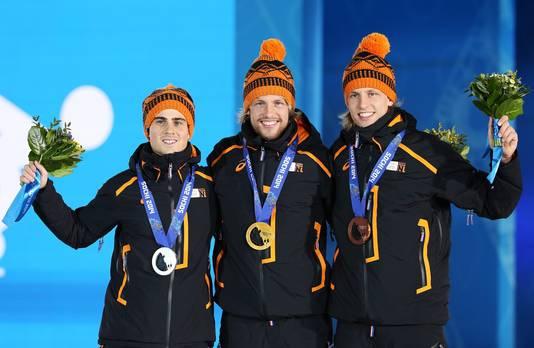 Jan Smeekens (zilver), Michel Mulder (goud) en Ronald Mulder (brons) zorgden in 2014 voor een 'clean sweep' op de 500 meter.