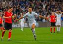 Eran Zahavi juicht na een hattrick tegen Oostenrijk eerder in deze kwalificatie.