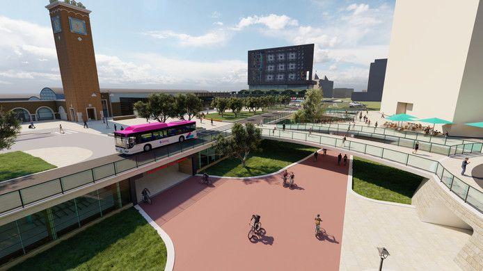 Artist impression: zo zou het nieuwe centraal station er uit kunnen komen te zien.