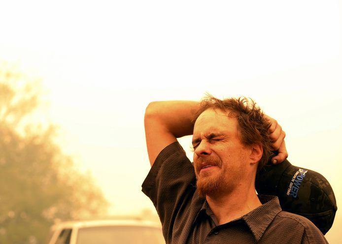 Chris Tofte tijdens de zoektocht naar zijn 13-jarige zoon, Wyatt.