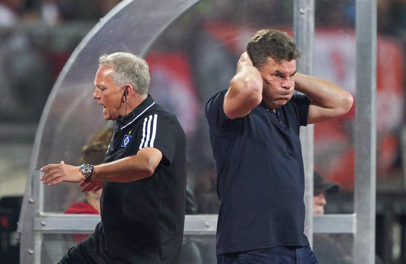 Ontluistering bij Dieter Hecking (r) en zijn staf na het opnieuw mislopen van promotie met HSV.