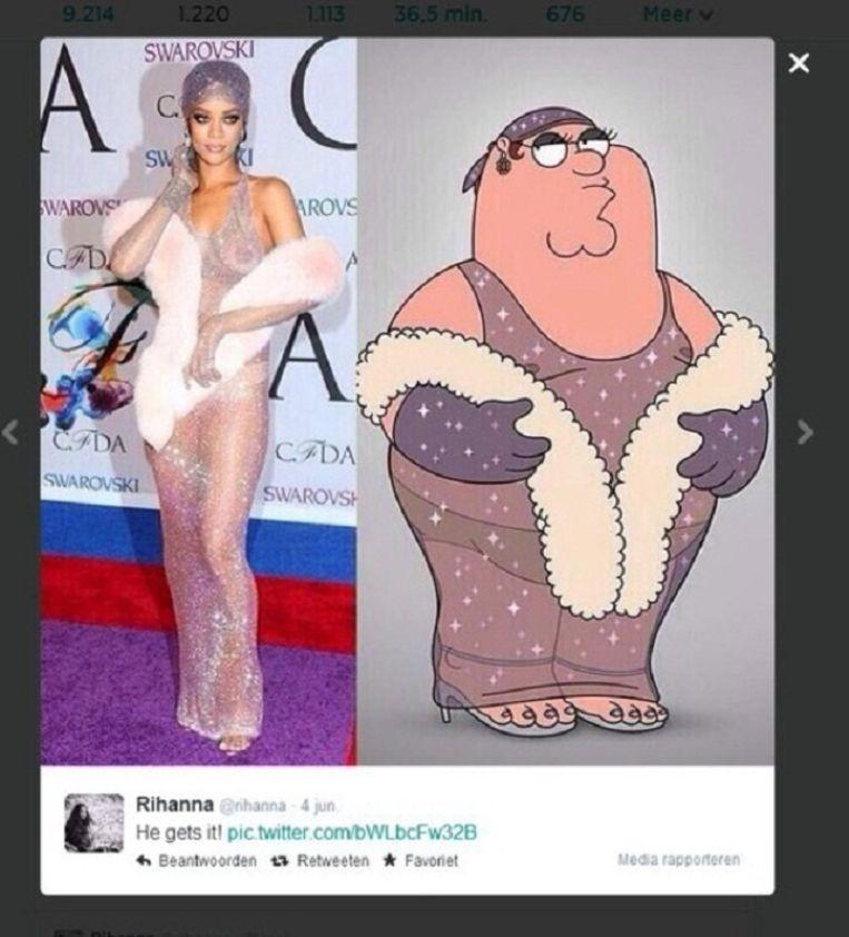 Rihanna twittert 'Hij snapt het', over een personage uit de Amerikaanse animatieserie Family Guy. Beeld Twitter