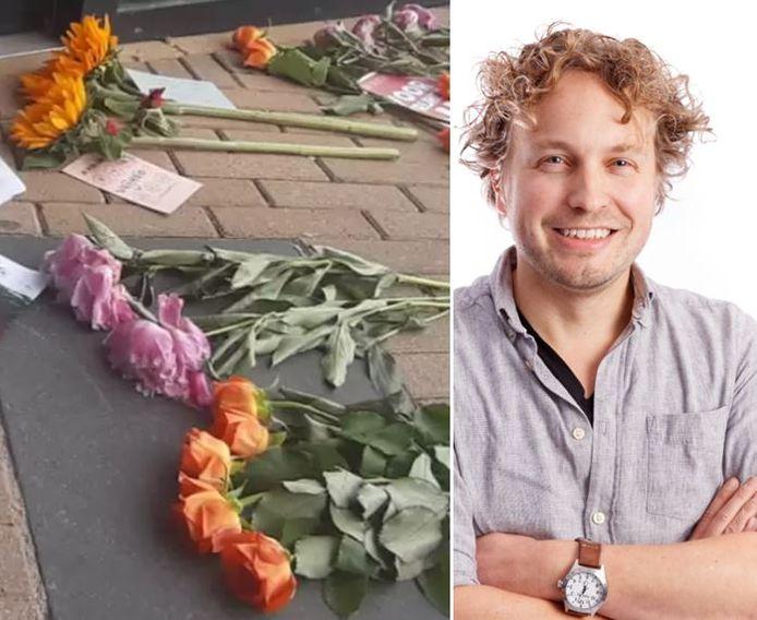 Rouwboeketten in Zevenbergen. Vanwege 'het overlijden van de democratie', las columnist Niels Herijgens.
