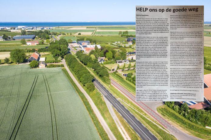Luchtfoto van de Zanddijk. Omwonenden. Ondernemersvereniging Reimerswaal en de dorpsraad Kruiningen zijn fel tegen de verbreding en plaatsten donderdag een paginagrote advertentie in de PZC (inzet)