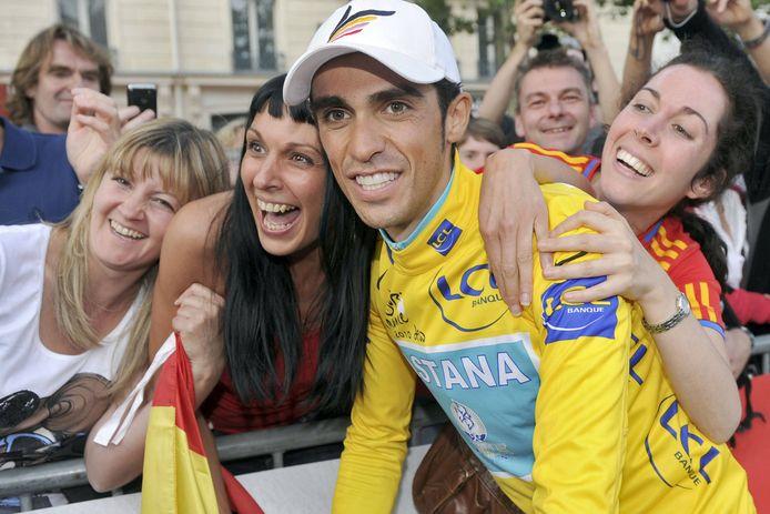 Contador tijdens zijn hoogtijdagen in de gele trui van de Tour de France.