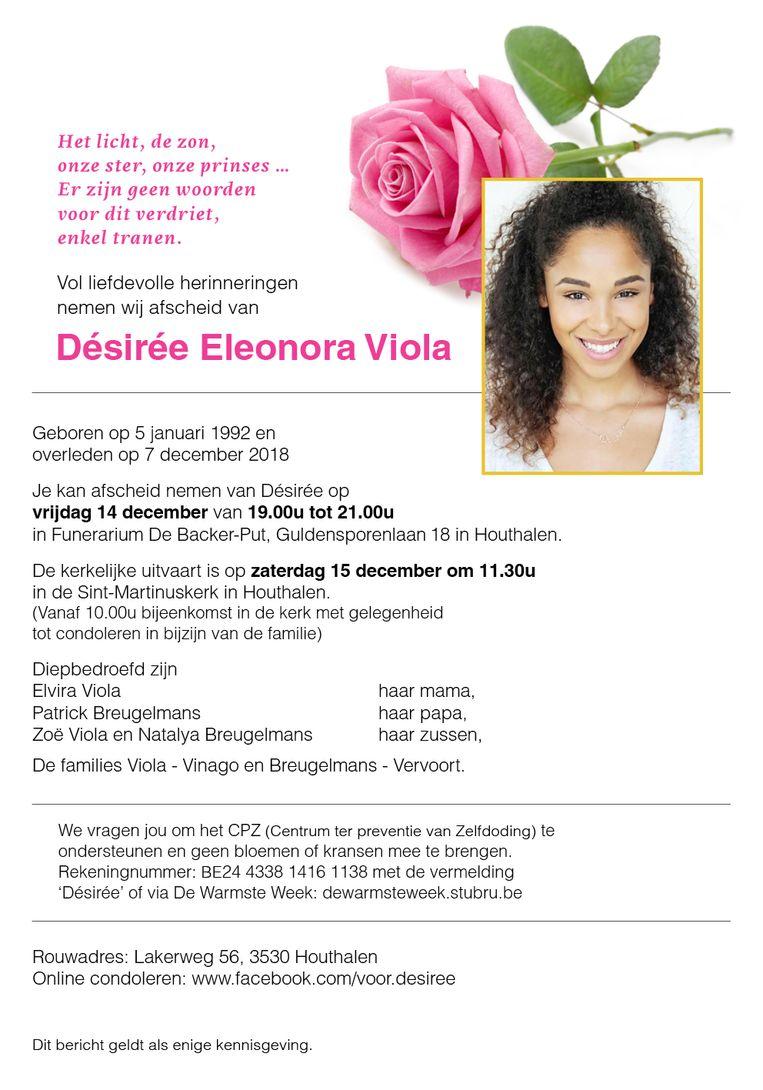 Rouwbrief Desirée Viola