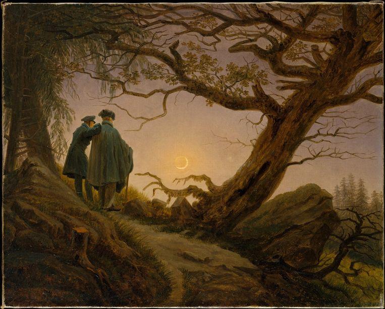 Caspar David Friedrich: Zwei Männer in Betrachtung des Mondes (1825-30). Beeld Metropolitan Museum of Art