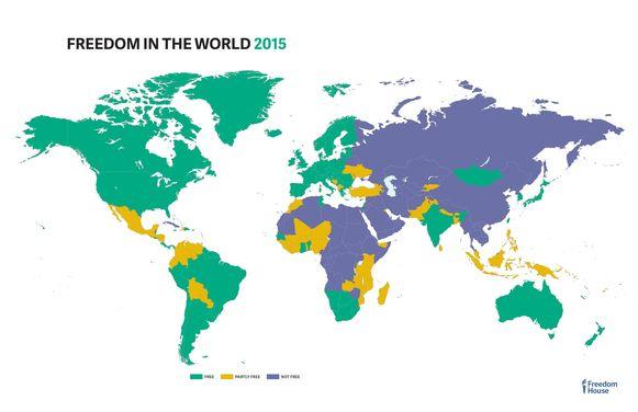 Groen: vrij, geel: gedeeltelijk vrij, paars: niet vrij.
