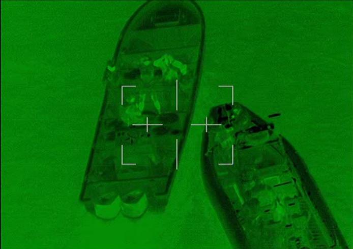Radarbeeld van de go-fast die op 1 oktober werd onderschept.