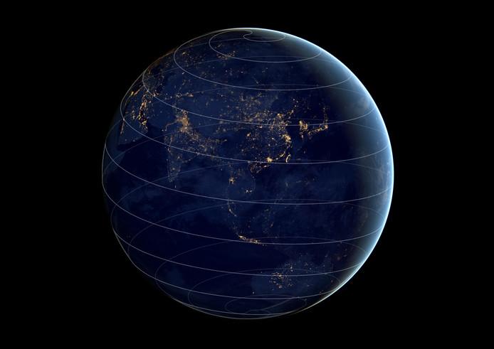 De wereldbol zoals een appel geschild