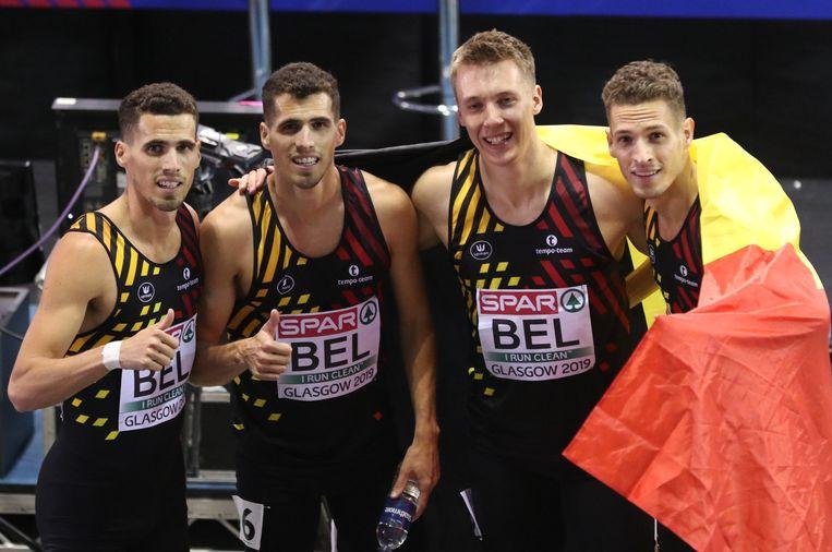 De broers Borlée zullen van de partij zijn in Japan, net als Julien Watrin (tweede van rechts).