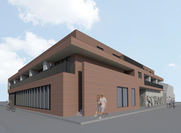 Twee 3D-beelden van de nieuwe vleugel van de kleuterschool van Huizingen. Bovenop komen acht sociale woningen.