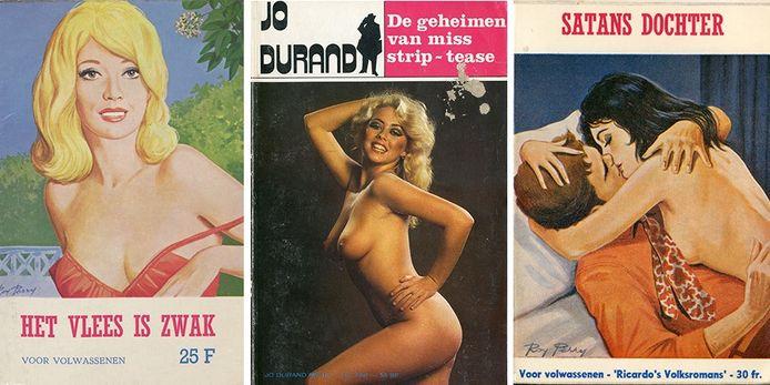 Vintage erotische literatuur uit de nieuwe expo 'Porno, Pulp en Literatuur'.