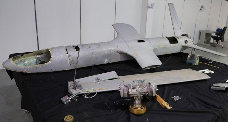 Een drone die gebruikt is door Houthi-rebellen in Jemen.   Beeld AP