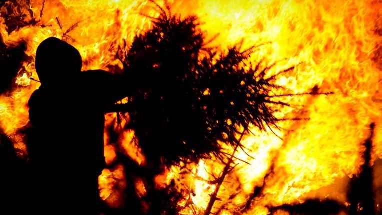 Foto van de bomenverbranding op het Museumplein Beeld ANP